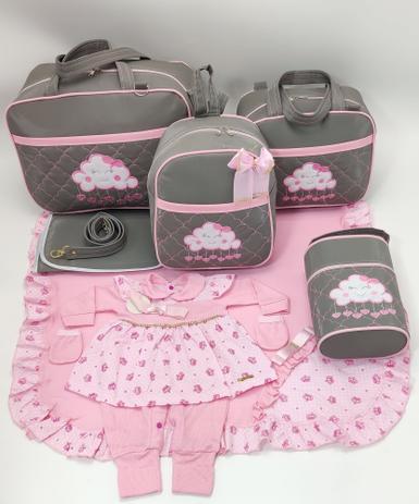 Imagem de Kit bolsa maternidade 5 peças nuvem cinza c/ rosa + saida maternidade