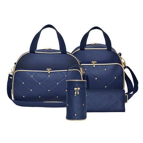 13b162220 Kit Bolsa Maternidade Charme Azul Marinho com Dourado - 4 Peças - Evundile