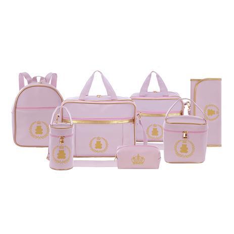 82cca697a Kit Bolsa Maternidade Diamond Rosa Bebê Com Mochila Creche 7 Peças + Brinde  - Evundile