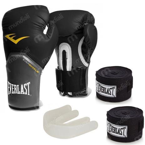 491f5f529 Kit Boxe Everlast com Luva pro Style 12 Oz Preta + Protetor Bucal + 2  Bandagens