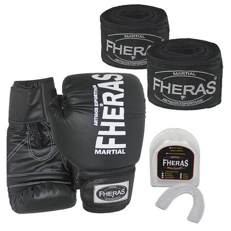 Kit Boxe Muay Thai Fheras Luva Preta 08oz + Bandagem + Bucal - Kit ... a8ff859c04e0e