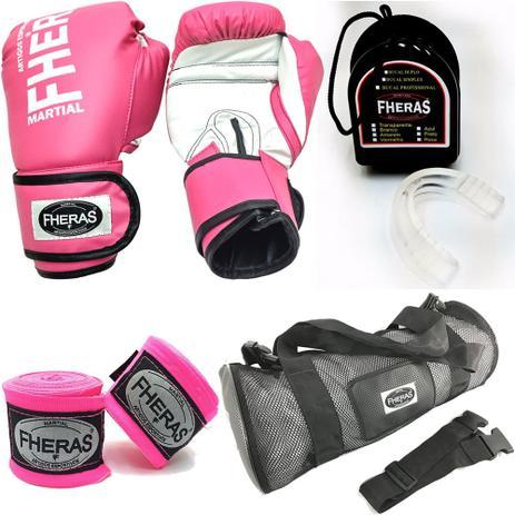 Kit Boxe Muay Thai Fheras Luva Rosa 14oz Bandagem Bucal Bolsa - Kit ... 8d799be224c1e
