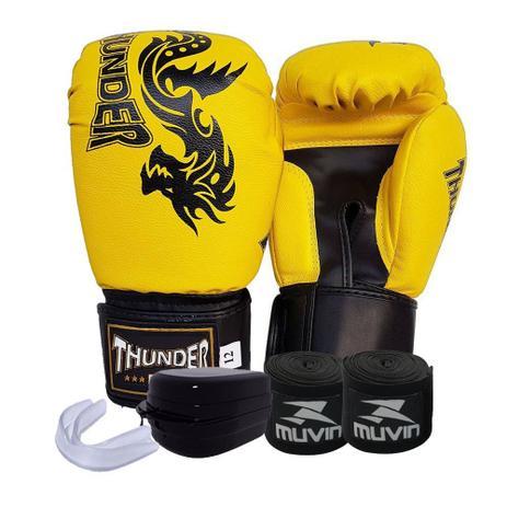 777d8bde3 kit Boxe Muay Thai Kickboxing Amarelo Dragão Preto - luva Thunder Fight 12  oz bandagem bucal