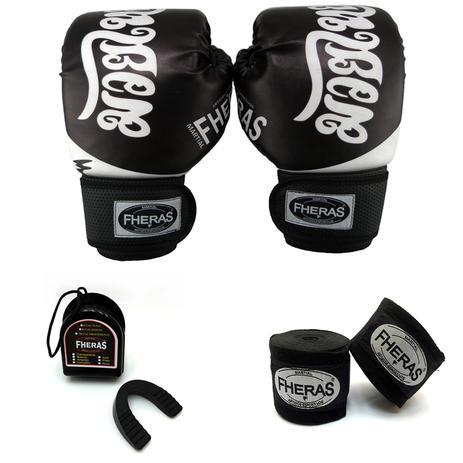 5038182d1 Kit Boxe Muay Thai - Luva Bandagem Bucal - Tailandês Preto - Fheras ...