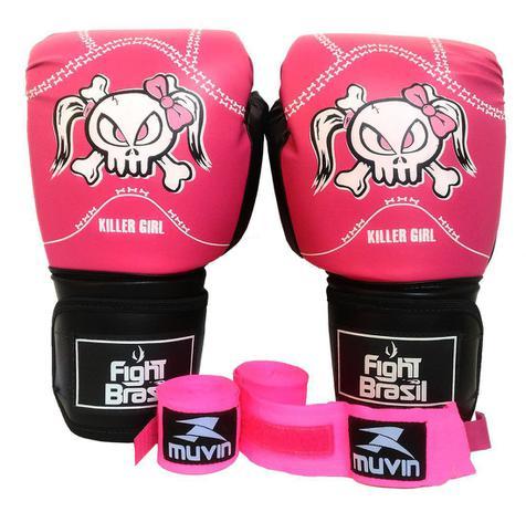 52246ff47 Kit Boxe Muay Thai Luva Bandagens Rosa 12 Oz Fight Brasil Feminino ...