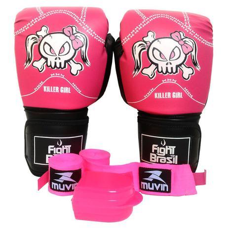 4c2e72eba Kit Boxe Muay Thai Luva Bandagens Rosa Bucal 14 Oz Fight Brasil ...