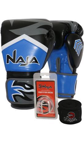 2d1c937ca Kit Boxe Muay Thai - Luva New Extreme Azul Marinho + Bandagem (2