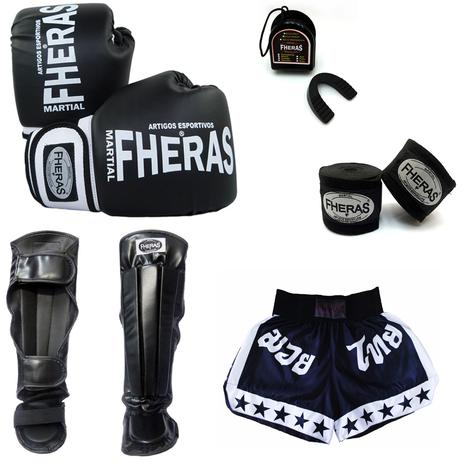 5d499e0e1 Kit Boxe Muay Thai Orion - Luva Bandagem Bucal Caneleira anatômica Shorts  (ESTRELA)14 oz - Preto Branco - Fheras