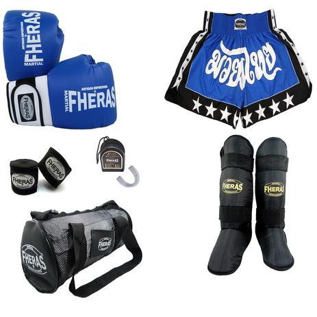 1643876bd Kit Boxe Muay Thai Orion - Luva Bandagem Bucal Caneleira Bolsa Shorts  (Estrela 2) -08 oz -Azul Branco - Fheras
