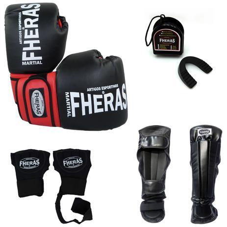 f8f35cfef Kit Boxe Muay Thai Oríon - Luva Bandagem Bucal Caneleira - Preto Vermelho -  Fheras