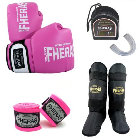 58951a358 Kit Boxe Muay Thai Oríon - Luva Bandagem Bucal Caneleira - Rosa Branco -  Fheras