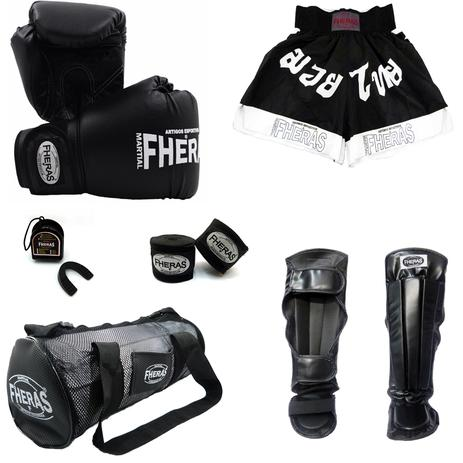 0f5aeca36 Kit Boxe Muay Thai Tradicional - Luva Bandagem Bucal Caneleira anatômica  Bolsa Shorts (FHERAS ) 10 oz - Preto