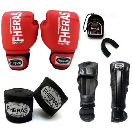 5d9cf8aca Kit Boxe Muay Thai Tradicional - Luva Bandagem Bucal Caneleira - Vermelho -  Fheras
