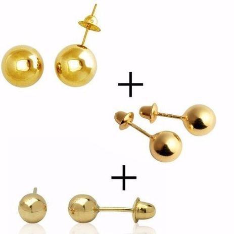 Kit Brinco Bola Ouro 18k 750 4mm 3mm 2.5mm Infantil E Adulto - Dr joias 90791bd660