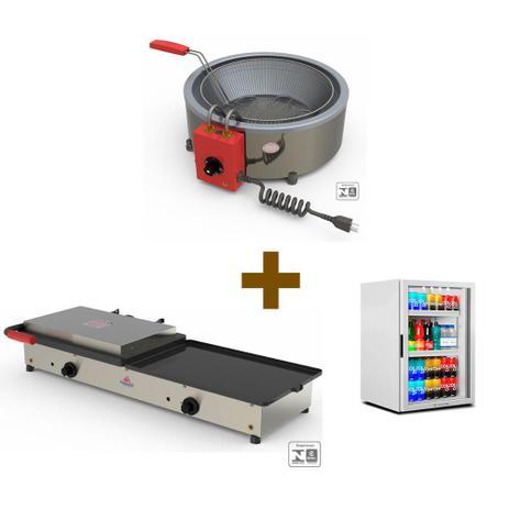 Imagem de Kit Burger Elétrico - Prensa e Chapa Pr950e + Fritadeira Pr70el + Refrigerador Vb11 - 127v