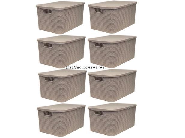 Imagem de Kit C/8 Cestos Organizadores De Plastico Rattan C/tampa 7 L