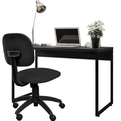 Imagem de Kit Cadeira Escritório Economy Corano e Mesa Escrivaninha Industrial Soft Preto Fosco - Lyam Decor