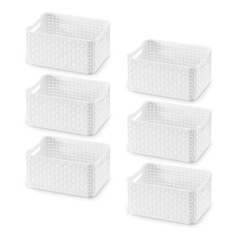 Imagem de Kit Caixa Organizadora Plástica Rattan Branca 1,74L com 6 Peças - Arthi