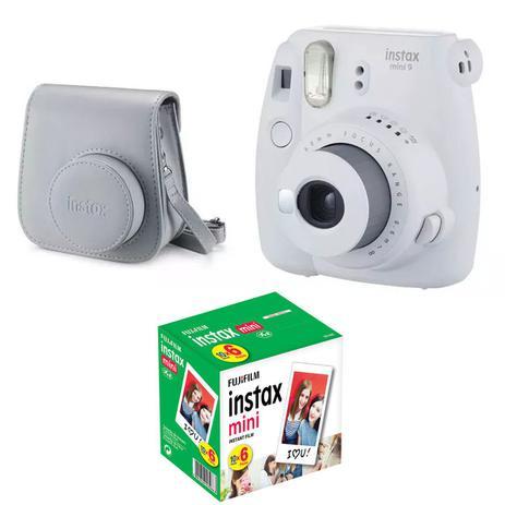 Imagem de Kit Câmera Instantânea Instax Mini 9 Branco Gelo + Bolsa + Pack 60 fotos - Fujifilm