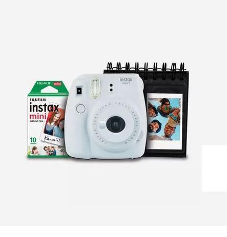 Imagem de Kit Câmera Instantânea Instax Mini 9 Fujifilm com Porta Fotos e Filme 10 Poses - Branco Gelo