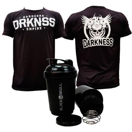 e2726bee73 Kit Camiseta Darkness Hardcore Empire + Coqueteleira Dupla - Max titanium