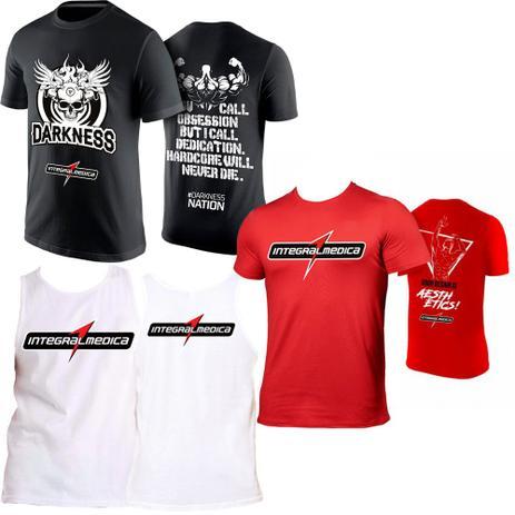 Kit Camiseta Darkness + Regata Branca + Camiseta Vermelha - Integral medica 9d3e91cac64