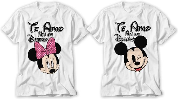 Kit Camiseta Dos Namorados Te Amo Ate Em Desenho Lancamento