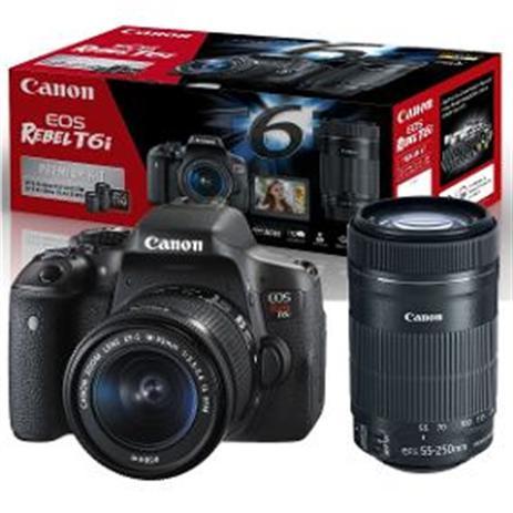 Imagem de Kit Canon Rebel T6i Premium com a 18-55mm e 55-250mm