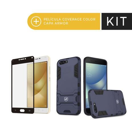 Imagem de Kit Capa Armor e Pelicula Coverage Preta para Zenfone 4 Max - Gorila Shield