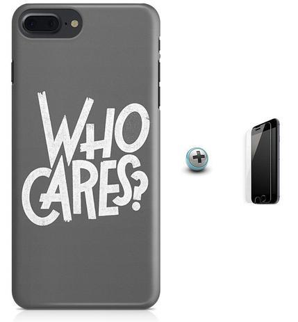 Imagem de Kit Capa Case TPU iPhone 7 Plus - Quem se importa + Pel Vidro (BD50)