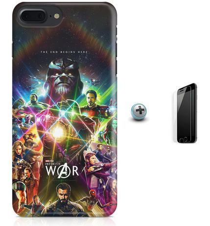 Imagem de Kit Capa Case TPU iPhone 8 Plus - Infity War Vingadores + Pel Vidro (BD30)