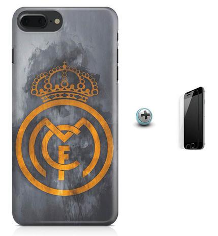 Imagem de Kit Capa Case TPU iPhone 8 Plus - Real Madrid Futebol + Pel Vidro (BD01)