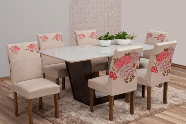 Imagem de Kit Capa de Cadeira 6 Lugares Estampada para Mesa de Jantar