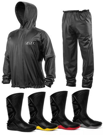 5a9419c5354 Kit Capa de Chuva Delta Flex Com Capuz + Bota Motosafe PVC Motociclista -  Delta + motosafe