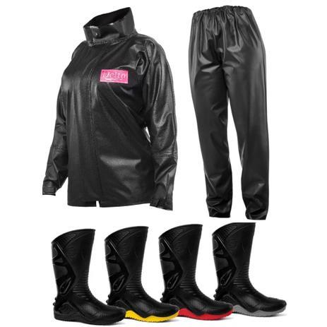 39832a5c288 Kit Capa de Chuva Feminina Delta + Bota Motosafe PVC Motociclista - Delta e  motosafe