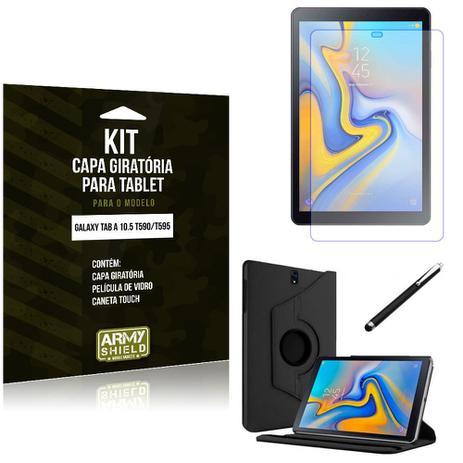 Imagem de Kit Capa Giratória Galaxy Tab A 10.5 T590/T595 Capa Giratória + Película de Vidro + Caneta Touch - Armyshield