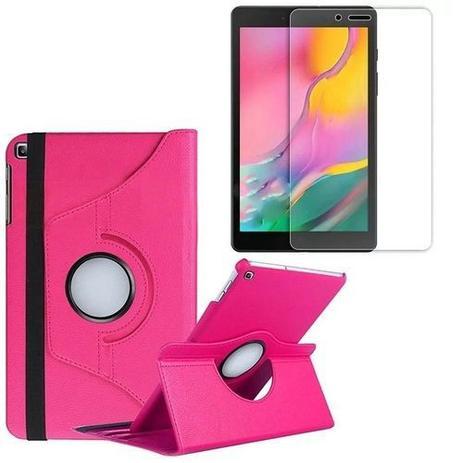 Imagem de Kit Capa Giratória Pink+ Película de Vidro Blindada Samsung Galaxy Tab A 8.0' T290 T295