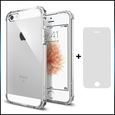 1e1f07aeb40 Kit Capa (+Película Vidro) Para Apple Iphone Se / 5 / 5s Em Silicone Tpu -  Transparente - Maston