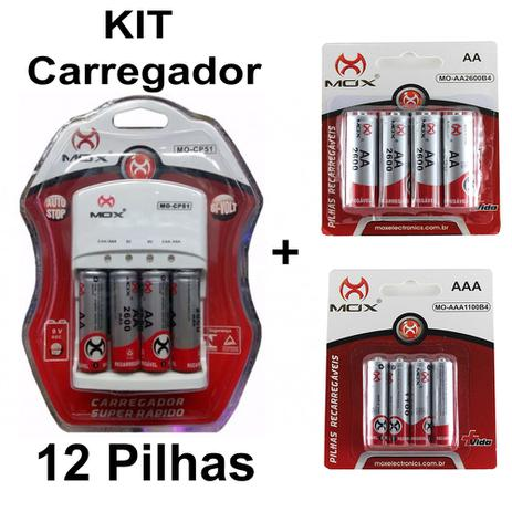 Imagem de Kit Carregador Pilhas Auto Stop 8 Aa + 4 Palito 1000Mah Mox
