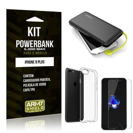 9e88c779e51 Kit Carregador Portátil 5K iPhone 8 Plus Powerbank 5000mah + Capa +  Película de Vidro - Armyshield