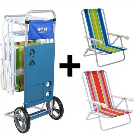 Kit Carrinho de Praia + 2 Cadeiras de Praia Reclinavel Mor ... cd12183f60610