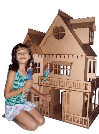 5b75da7a9 Kit Casa Boneca Móveis Barbie Emily MDF Cru C+C - Darama - Casinha ...