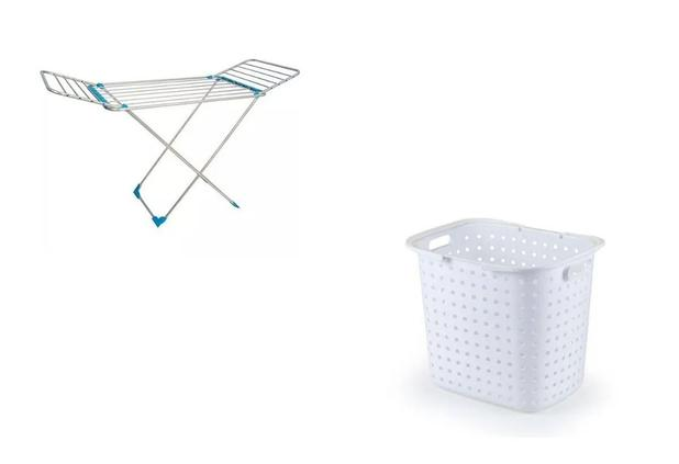Imagem de Kit Cesto Roupa Suja Branco + Varal De Chão Em Alumínio