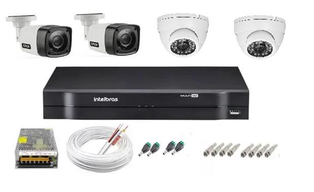 Imagem de Kit cftv 4 cameras de segurança + dvr 4ch Intelbras full hd Promo