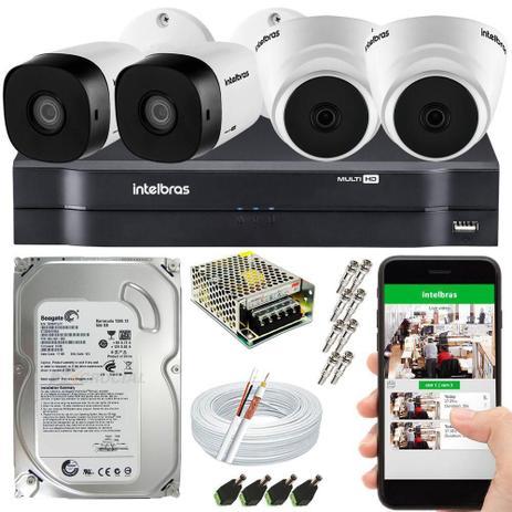 Imagem de Kit Cftv 4 Câmeras De Segurança Intelbras HDCVI 1.0MP e Dvr 4 canais MHDX 1104 C/ HD 500GB