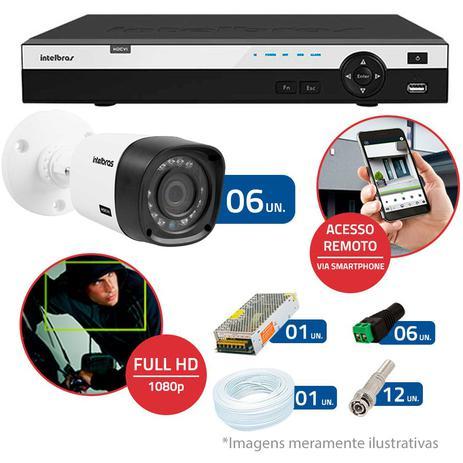 4abbdb51a95 Kit CFTV 6 Câmeras Infra Full HD 1080p Intelbras VHD 1220B IR + DVR  Intelbras Full HD 16 Ch + Acessórios
