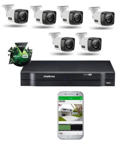 Imagem de Kit Cftv 6 Cameras Segurança  Hd Dvr Intelbras 1108 S/ HD