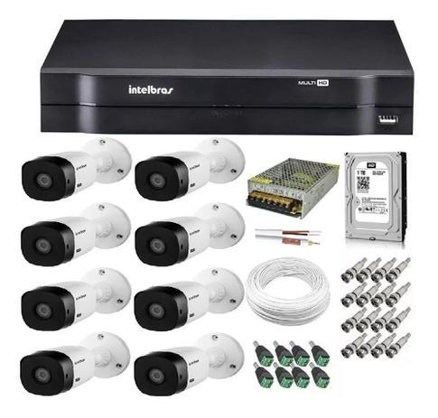 Imagem de Kit Cftv 8 Câmeras Hd Vhl 1120b 20m Dvr 8 Canais Intelbras / Monitoramento Residencial E Comercial