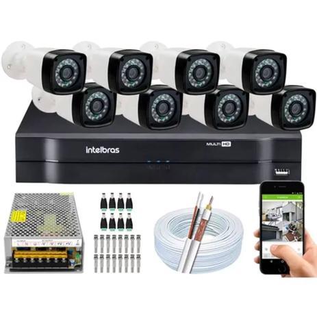 Imagem de Kit Cftv 8 Cameras Segurança  Hd Dvr Intelbras 1108 S/ HD