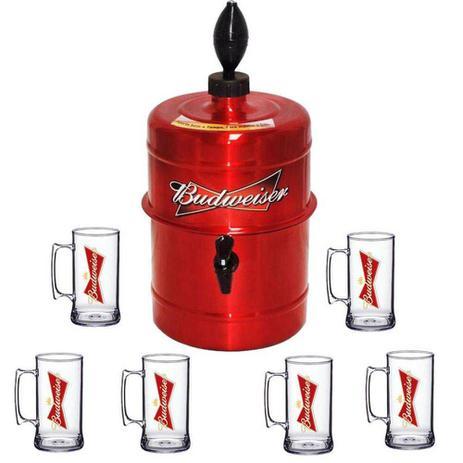 Imagem de Kit Chopeira Beer Chopp 5,1 lt Budweiser Com 6 Copos Chopp Personalizados